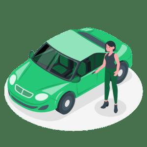 illustration-junge-frau-steht-neben-bei-grünem-auto