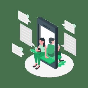 illustration-frau-und-mann-sitzen-mit-smartphone