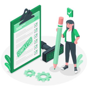 illustration-frau-steht-mit-großem-bleistift-vor-grüner-checkliste