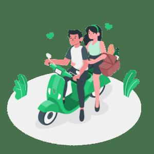 illustration-frau-und-mann-sitzen-auf-motorroller