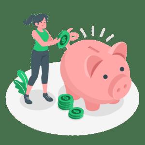 illustration-frau-wirft-geld-in-sparschwein