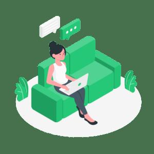 illustration-frau-sitzt-auf-grüner-couch-mit-notebook